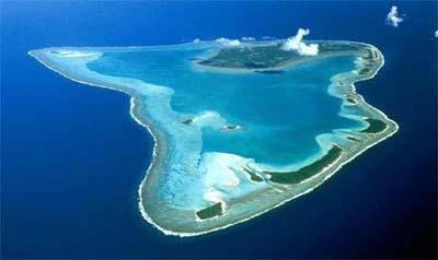 Vista aérea de la isla de Aitutaki