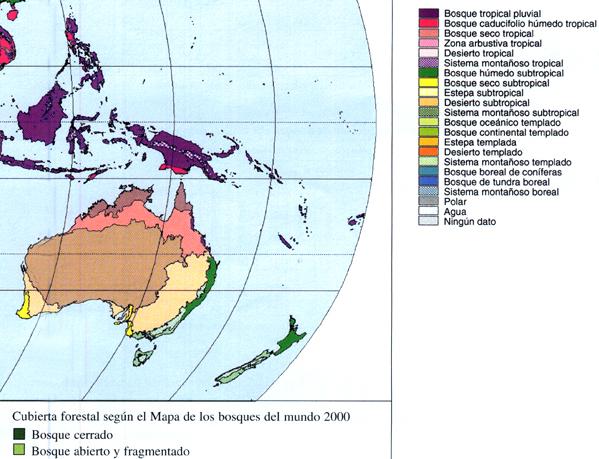 Mapa de los ecosistemas predominantes en regiones de Oceanía