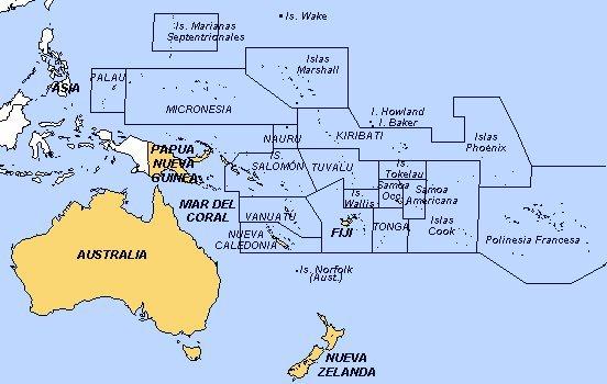 Los territorios de Oceanía se distribuyen entre Asia y América