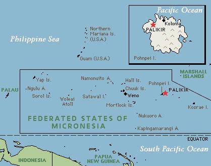 Mapa de los Estados Federados de Micronesia