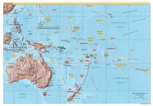 Mapa físico de Oceanía