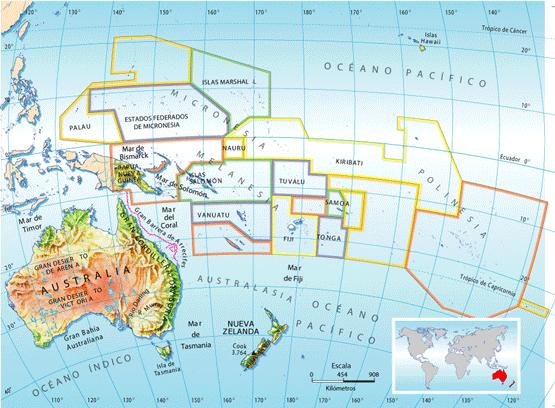 Mapa administrativo de Oceanía