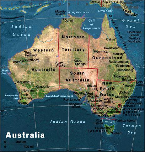 Mapa político de Australia