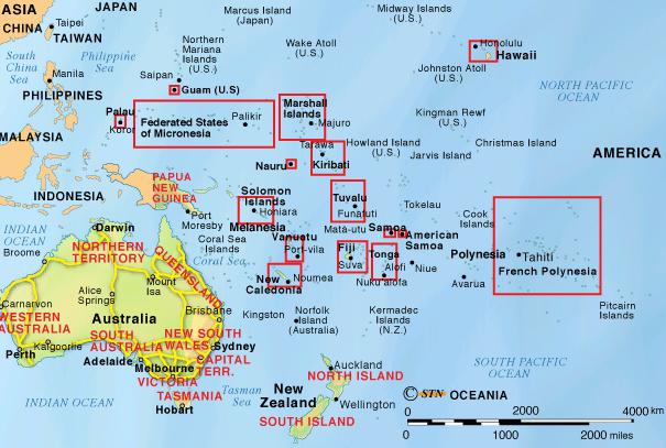 Ubicación geográfica de Oceanía