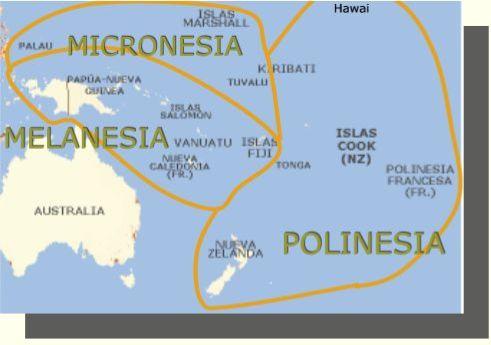 Mapa de Micronesia, Polinesia y Melanesia